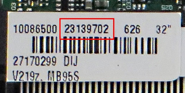 Vestel Power Supply or Main Board number label